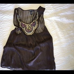 Wet Seal Tops - Wet Seal brown blouse with sequins AA 1162